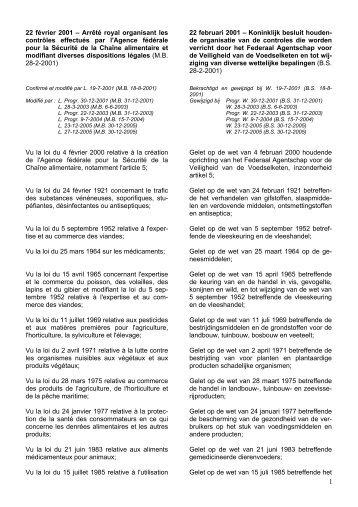 het KB van 22/02/2001 - Favv