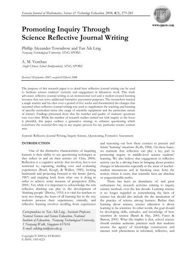 Promoting Inquiry Through Science Reflective Journal Writing