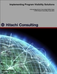 Implementing Program Visibility Solutions - Hitachi Consulting