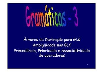 Árvores de Derivação para GLC Ambigüidade nas GLC ...