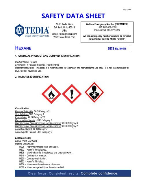 safety data sheet hexane - American International Chemical