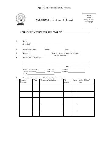 1. Application form (faculty) - NALSAR University of Law