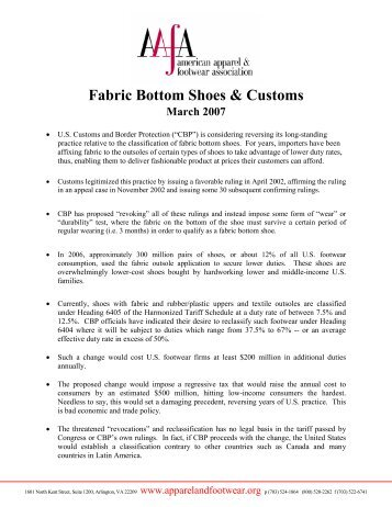 Customs footwear textile outsole issue