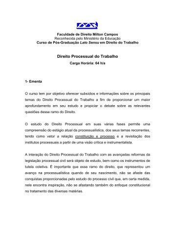 Direito Processual do Trabalho - Milton Campos