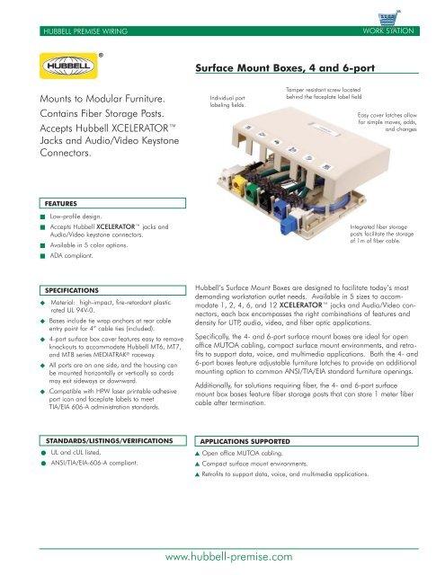 Superb Surface Mount Boxes 4 6 Port Datasheet Hubbell Premise Wiring Wiring Digital Resources Funapmognl