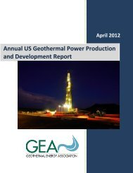 Annual US Geothermal Power Production and Development Report