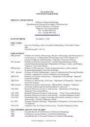 curriculum - Dipartimento di Psicologia dei Processi di Sviluppo e ...