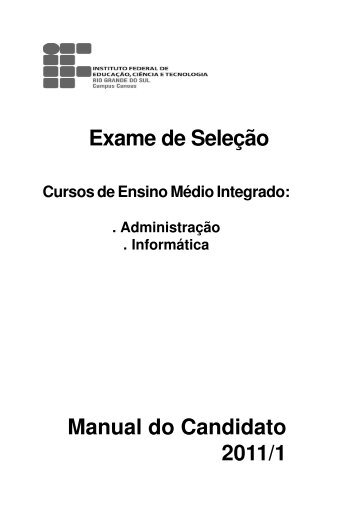 Manual do candidato curso Integrado - Campus Canoas - IFRS
