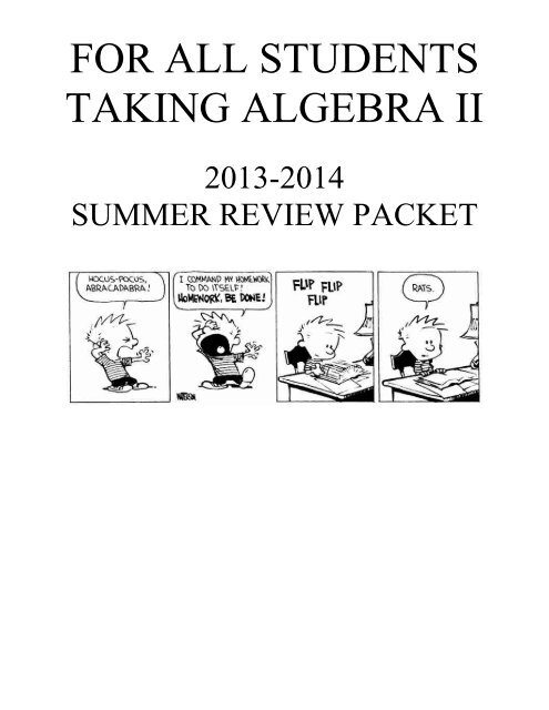 Summer Packet for Algebra 2 CP - Central Dauphin School District