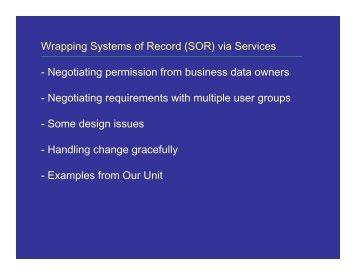Notes about wrapping systems of record with web services