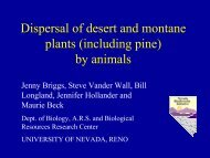 Dispersal of desert and montane plants (including pine) by animals