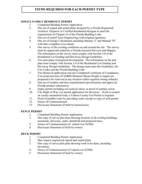 items required for each permit type - City of Deltona, Florida