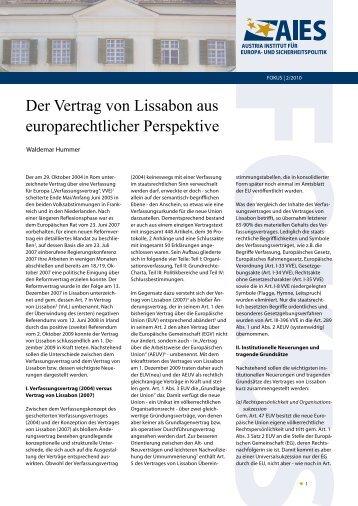 Der Vertrag von Lissabon aus europarechtlicher Perspektive - AIES