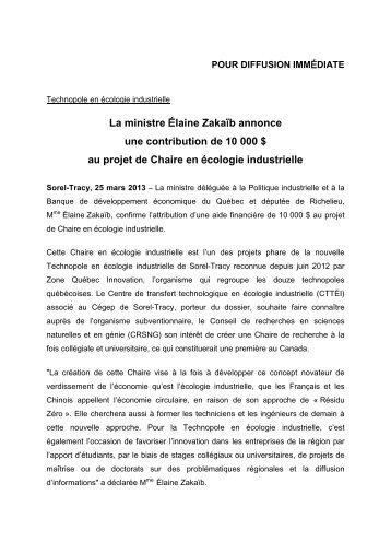 La ministre Élaine Zakaïb annonce une contribution de 10 000 $ au ...