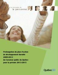Plan d'action de développement durable 2009-2013 - Le Curateur ...
