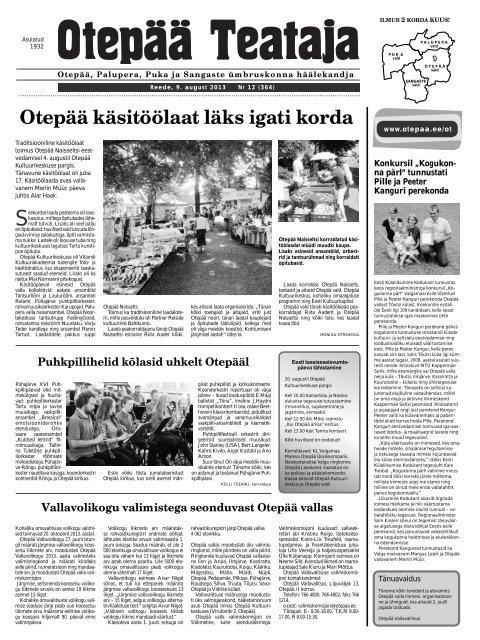 6b8dfbafffd Otepää Teataja nr.12, 09.08.2013 - Otepää vald