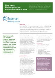 Case study: Understanding and maximising customer value - Experian