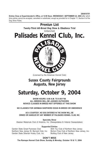 Palisades Kennel Club Inc