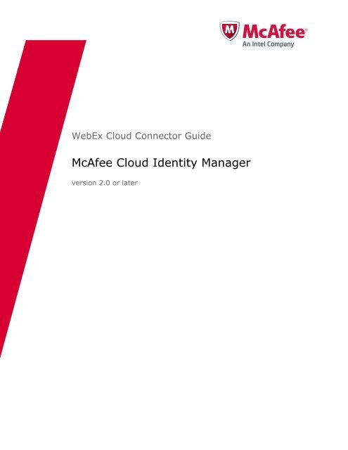 McAfee Cloud Identity Manager WebEx Cloud Connector Guide