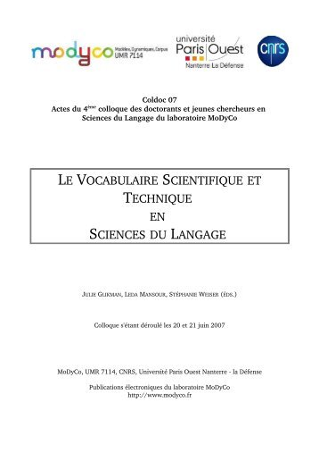 le vocabulaire scientifique et technique en sciences du langage
