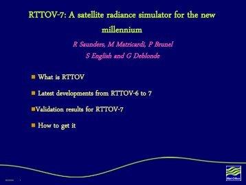 rttov-5 rttov-7 - University of Wisconsin-Madison