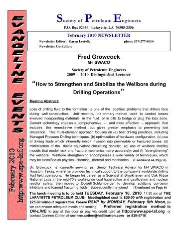 spe newsletter Feb 2010 - Society of Petroleum Engineers
