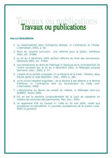 Travaux ou publications