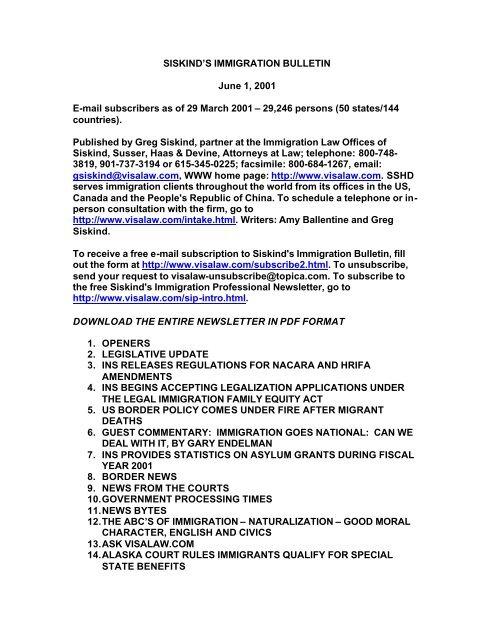 SISKIND'S IMMIGRATION BULLETIN June 1, 2001 ... - Siskind, Susser