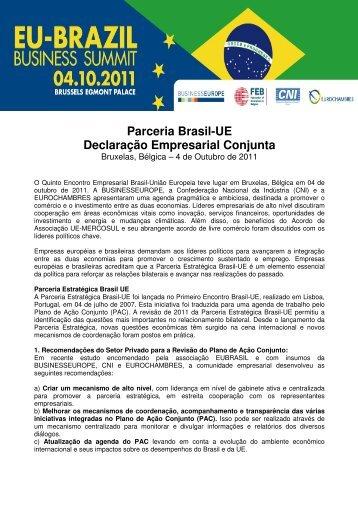 Parceria Brasil-UE Declaração Empresarial Conjunta - CNI