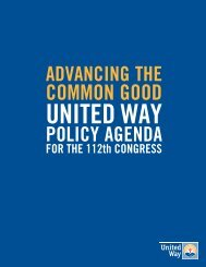 Advancing the Common Good: United Way Policy Agenda