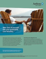 Take care of yourself. Use your preventive care ... - MC Solutions