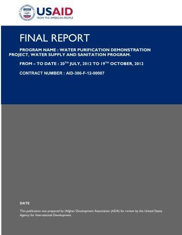 FINAL REPORT - Afghan Development Association