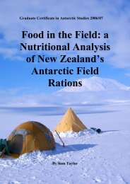 a Nutritional Analysis of New Zealand's Antarctic Field Rations.