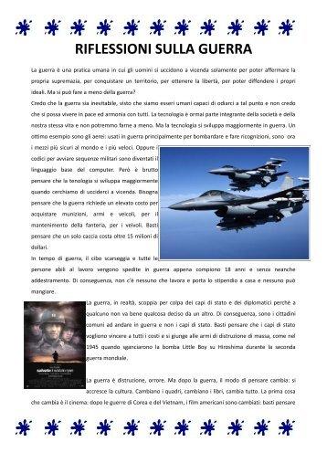 """RIFLESSIONI SULLA GUERRA - I.C. """"G. Galilei"""" Tradate"""