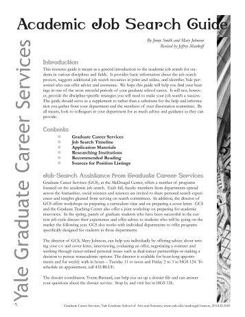 Academic Job Search Guide   Yale University