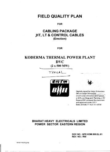 7. field quality plan - BHEL - Industrial Systems Group