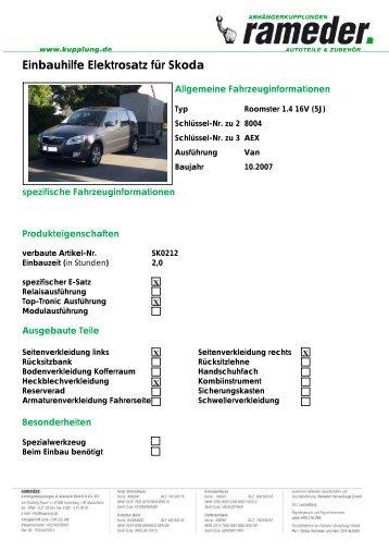 Einbauhilfe Elektrosatz für Skoda