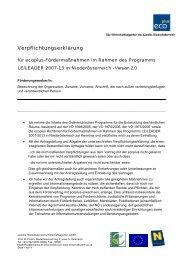 Verpflichtungserklärung - LEADER Kamptal Wagram