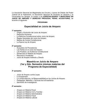 Especialidad en Juicio de Amparo Maestría en Juicio de Amparo ...