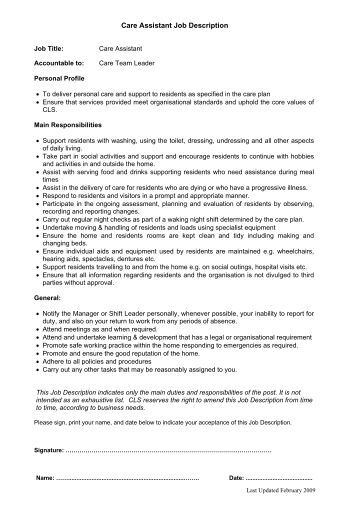 DA Job Description CLS Care Services - Care assistant responsibilities