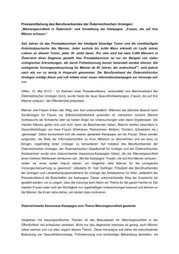Pressemitteilung des Berufsverbandes der Österreichischen Urologen: