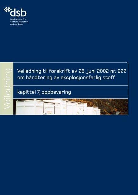Veiledning § 7 Oppbevaring - Direktoratet for samfunnssikkerhet og ...
