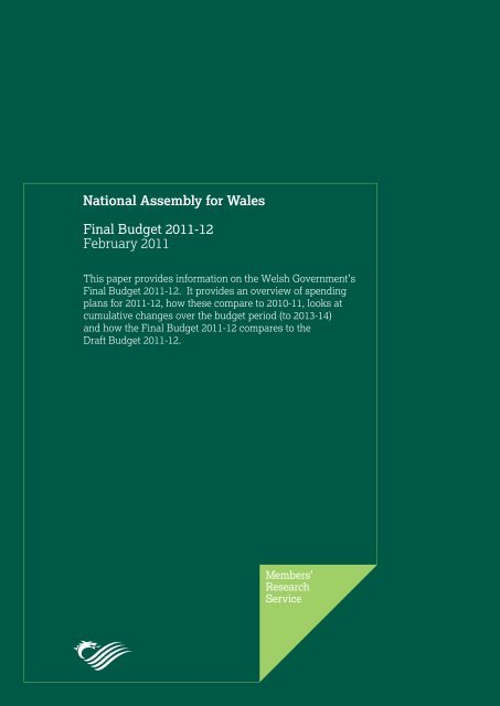 Final Budget 2011-12 - National Assembly for Wales
