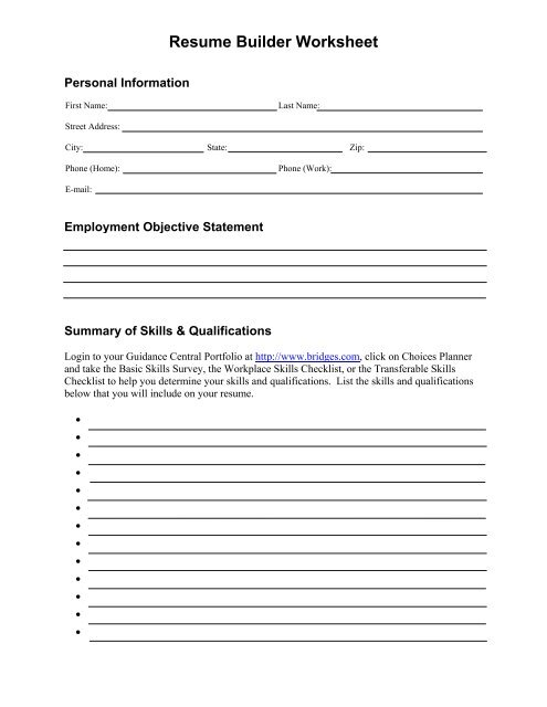 resume builder worksheet