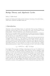 Hodge Theory and Algebraic Cycles - Johannes Gutenberg ...