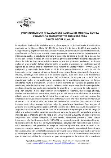 Pronunciamiento ANM ante la Providencia Administrativa Publicada ...