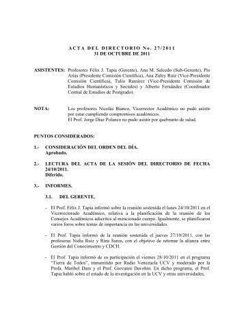Directorio de fecha 31/10/2011 - CDCH-UCV