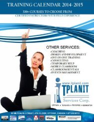 Itplanit Training Schedule 2014-2015