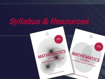 Syllabus & Resources Presentation - Project Maths