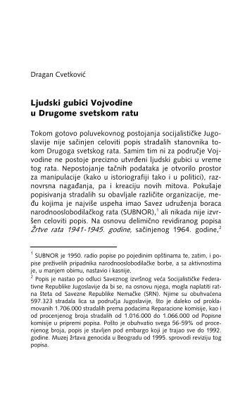 Ljudski gubici Vojvodine u Drugome svetskom ratu